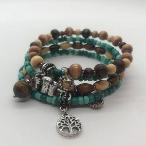 Tree of Life, Elephant & Tigers Eye Charm bracelet